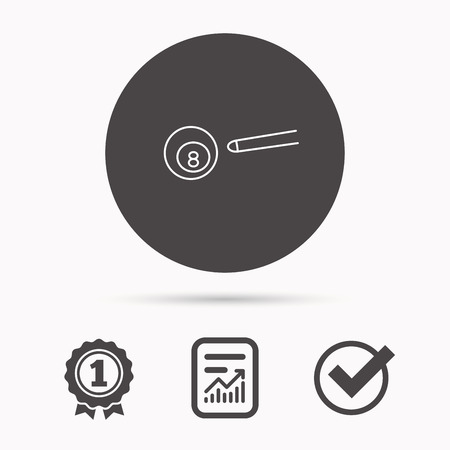 snooker cue: Billiard ball icon. Pool or snooker equipment sign. Cue sports symbol. Report document, winner award and tick. Round circle button with icon. Vector