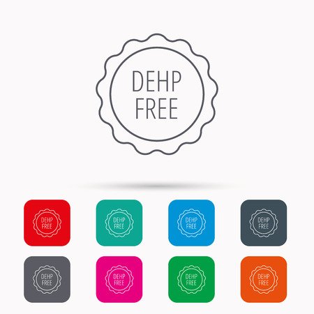 DEHP free icon. Non-toxic plastic sign. Linear icons in squares on white background. Flat web symbols. Vector Illustration