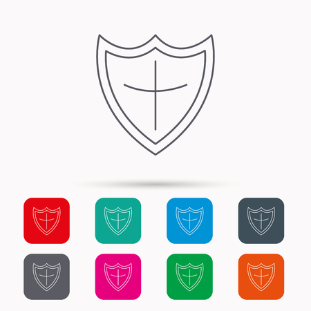 defence: Shield icon. Protection sign. Royal defence symbol. Linear icons in squares on white background. Flat web symbols. Vector