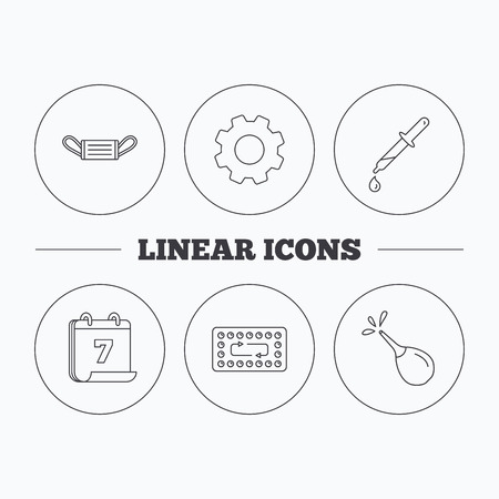 contraception: Medical mask, contraception and pipette icons. Clyster linear sign. Flat cogwheel and calendar symbols. Linear icons in circle buttons. Vector