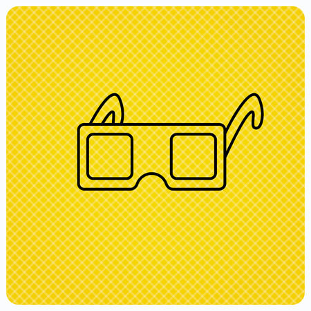 freetime: 3D glasses icon. Cinema technology sign. Vision effect symbol. Linear icon on orange background. Vector