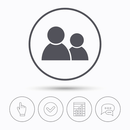 friend chart: Friends icon. Group of people sign. Communication symbol. Chat speech bubbles. Check tick, report chart and hand click. Linear icons. Vector Illustration