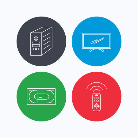 tv remote: TV remote, VHS cassette and PC case icons. Widescreen TV linear sign. Linear icons on colored buttons. Flat web symbols. Vector Illustration
