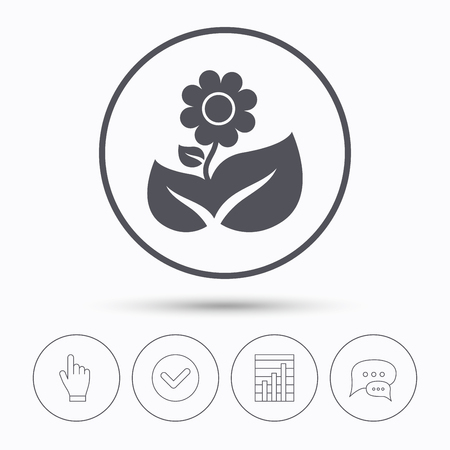 florist: Flower icon. Florist plant with leaf symbol. Chat speech bubbles. Check tick, report chart and hand click. Linear icons. Vector