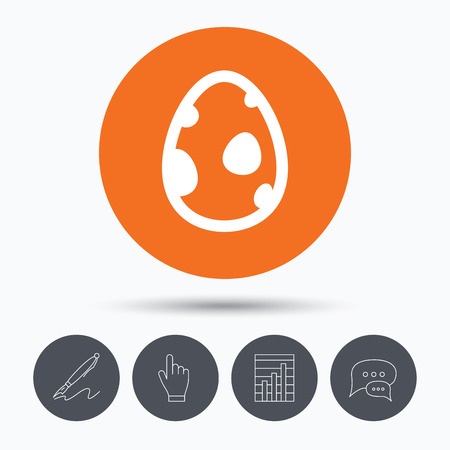 dinosaur egg: Dinosaur egg icon. Birth symbol. egg concept. Speech bubbles. Pen, hand click and chart. Orange circle button with icon. Vector