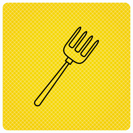 Pitchfork icon. Agriculture sign symbol. Linear icon on orange background. Vector