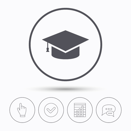 Education icon. Graduation cap symbol. Chat speech bubbles. Check tick, report chart and hand click. Linear icons. Vector Illustration