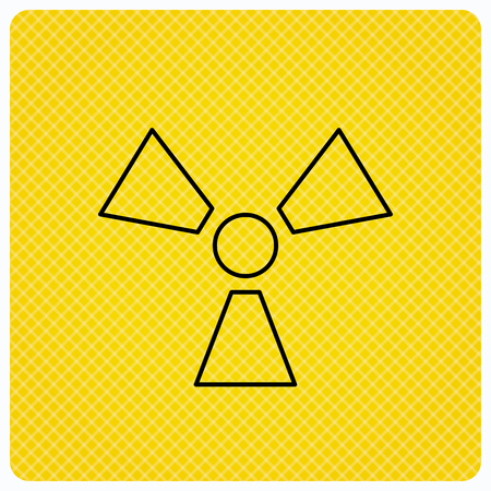 radiological: Radiation icon. Radiology sign. Linear icon on orange background. Vector