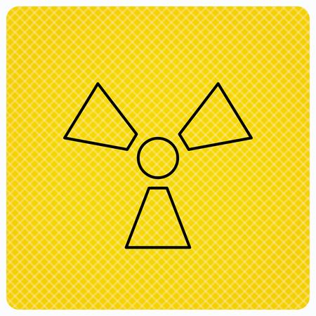 Radiation icon. Radiology sign. Linear icon on orange background. Vector