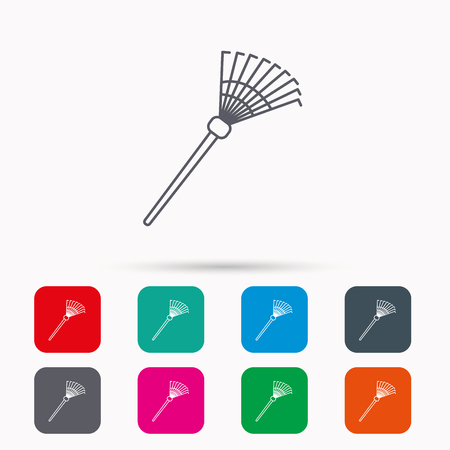 gardening  equipment: Rake icon. Gardening equipment sign. Outdoor instrument symbol. Linear icons in squares on white background. Flat web symbols. Vector