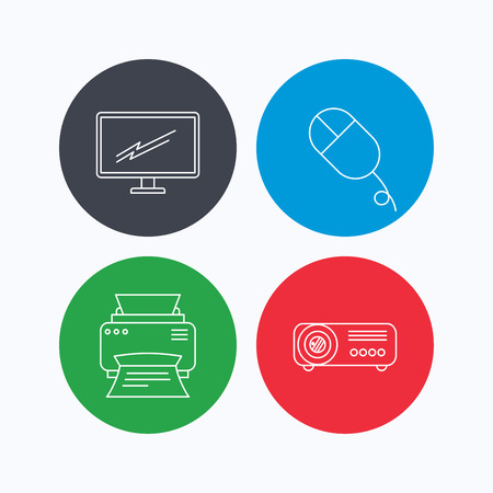portative: Monitor, printer and projector icons. PC mouse linear sign. Linear icons on colored buttons. Flat web symbols. Vector