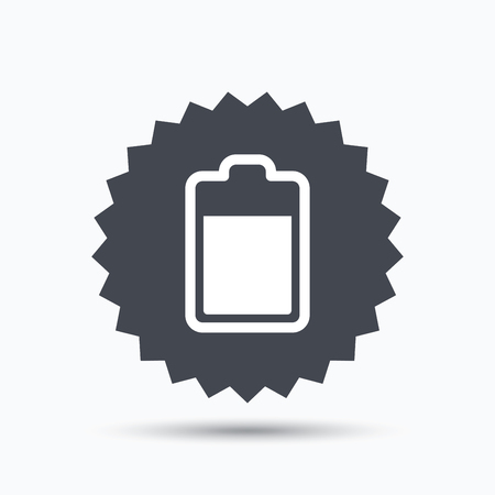 star power: Battery power icon. Charging accumulator symbol. Gray star button with flat web icon. Vector