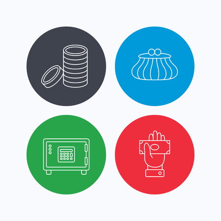 give money: Give money, cash money and wallet icons. Safe box, coins linear signs. Linear icons on colored buttons. Flat web symbols. Vector