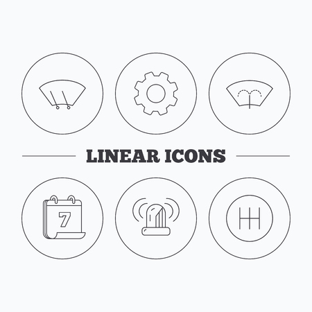 windscreen wiper: Manual gearbox, siren alarm and washing window icons. Windscreen wiper linear sign. Flat cogwheel and calendar symbols. Linear icons in circle buttons. Vector Illustration