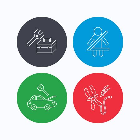fasten: Repair, battery terminal and car service icons. Fasten seat belt linear sign. Linear icons on colored buttons. Flat web symbols. Vector