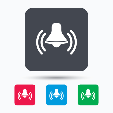 wake up call: Bell icon. Reminder alarm signal symbol. Colored square buttons with flat web icon. Vector Illustration