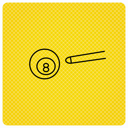 Billiard ball icon. Pool or snooker equipment sign. Cue sports symbol. Linear icon on orange background. Vector Illustration