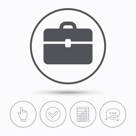 business case: Briefcase icon. Diplomat handbag symbol. Business case sign. Chat speech bubbles. Check tick, report chart and hand click. Linear icons. Vector