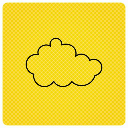 Cloud icon. Overcast weather sign. Meteorology symbol. Linear icon on orange background. Vector