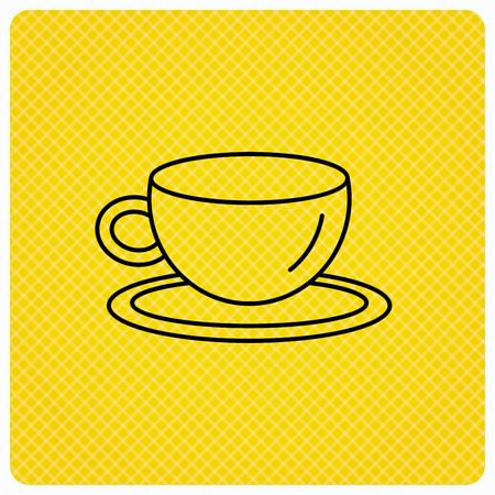 decaf: Coffee cup icon. Tea or hot drink sign. Linear icon on orange background. Vector Illustration