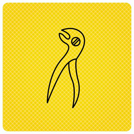 Dental pliers icon. Stomatological forceps tool sign. Linear icon on orange background. Vector