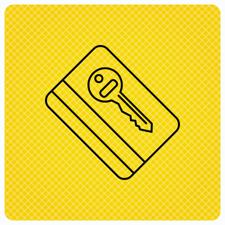 room card: Electronic key icon. Hotel room card sign. Unlock chip symbol. Linear icon on orange background. Vector Illustration