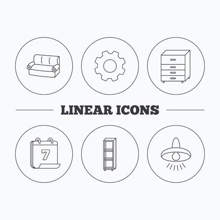 chest of drawers: Sofa, ceiling lamp and shelving icons. Chest of drawers linear sign. Flat cogwheel and calendar symbols. Linear icons in circle buttons.