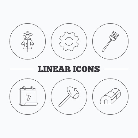 hothouse: Hammer, hothouse and scarecrow icons. Pitchfork linear sign. Flat cogwheel and calendar symbols. Linear icons in circle buttons. Vector
