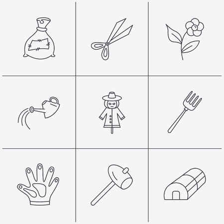 hothouse: Hammer, hothouse and watering can icons. Bag of fertilizer, scissors and flower linear signs. Hammer, scarecrow and pitchfork flat line icons. Linear icons on white background. Vector