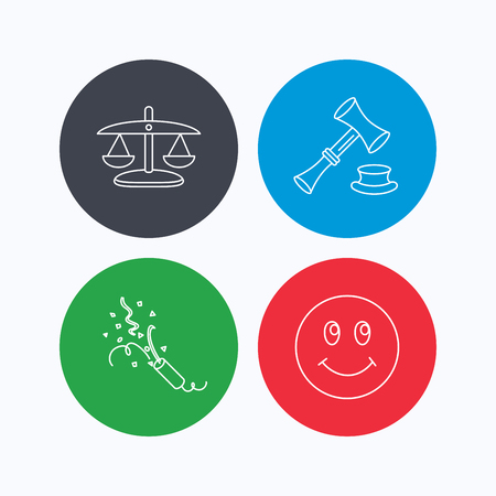 shah: Scales of justice, auction hammer and slapstick icons. Smiling face linear sign. Linear icons on colored buttons. Flat web symbols. Vector