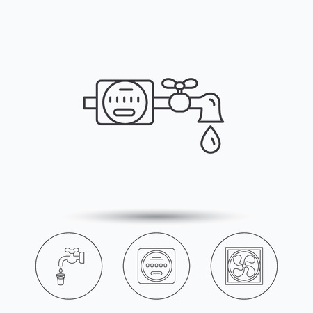 liquidizer: Ventilation, water counter icons. Save water, counter linear signs. Linear icons in circle buttons. Flat web symbols. Vector