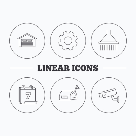 Mailbox, video monitoring and garage icons. Shower linear sign. Flat cogwheel and calendar symbols. Linear icons in circle buttons. Vector Illustration
