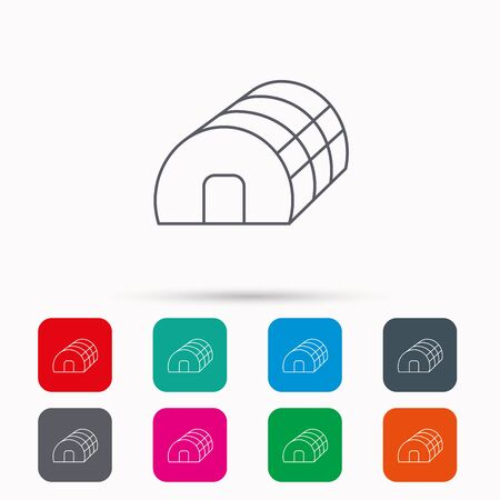 hothouse: Greenhouse complex icon. Hothouse building sign. Warm house symbol. Linear icons in squares on white background. Flat web symbols. Vector Illustration