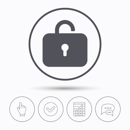 private access: Lock icon. Privacy locker sign. Private access symbol. Chat speech bubbles. Check tick, report chart and hand click. Linear icons. Vector