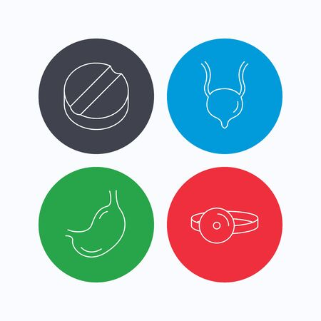 urinary bladder: Medical mirror, tablet and stomach organ icons. Urinary bladder linear sign. Linear icons on colored buttons. Flat web symbols. Vector