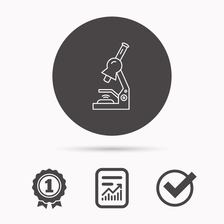 criminology: Microscope icon. Medical laboratory equipment sign. Pathology or scientific symbol. Report document, winner award and tick. Round circle button with icon. Vector Illustration