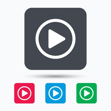 icono de reproducción. símbolo del reproductor de audio o vídeo. botones de cuadrados de color con el icono de banda plana. Vector Ilustración de vector