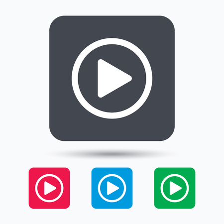 Play icon. Audio or Video player symbol. Colored square buttons with flat web icon. Vector