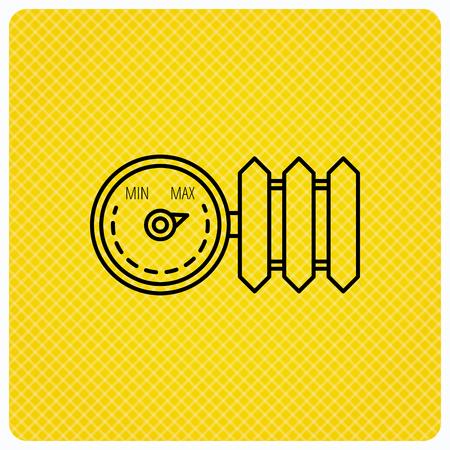 regulator: Radiator with regulator icon. Heater sign. Linear icon on orange background. Vector