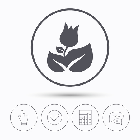 florist: Rose flower icon. Florist plant with leaf symbol. Chat speech bubbles. Check tick, report chart and hand click. Linear icons. Vector