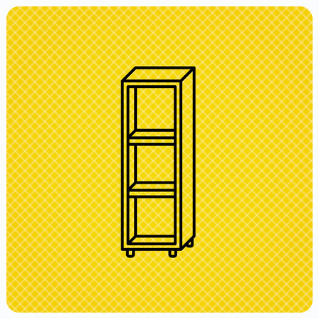shelving: Empty shelves icon. Shelving sign. Linear icon on orange background. Vector Illustration