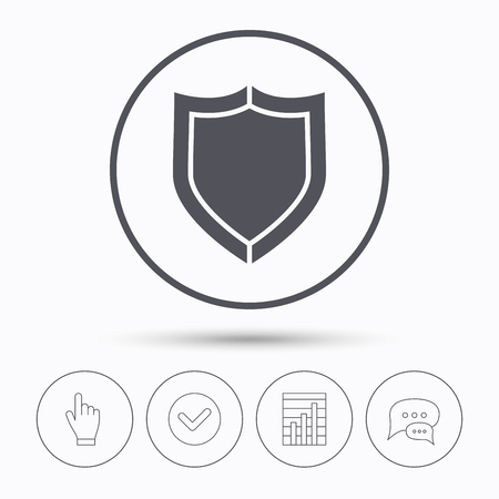 defense: Shield protection icon. Defense equipment symbol. Chat speech bubbles. Check tick, report chart and hand click. Linear icons. Vector Illustration