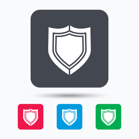 secured: Shield protection icon. Defense equipment symbol. Colored square buttons with flat web icon. Vector