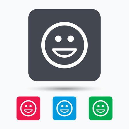laugh emoticon: Happy smile icon. Smiley laugh emoticon symbol. Colored square buttons with flat web icon. Vector