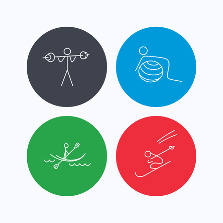 black white kayak: Gymnastics, kayaking and skiing icons. Weightlifting linear sign. Linear icons on colored buttons. Flat web symbols. Vector