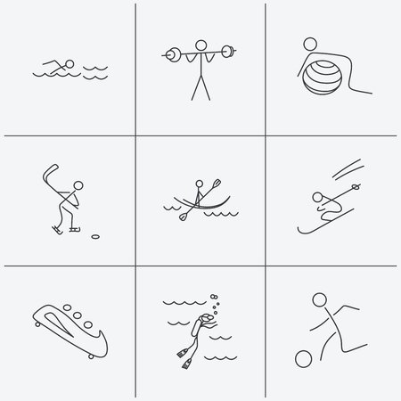 Swimming, football and skiing icons. Ice hockey, diving and gymnastics linear signs. Kayaking, weightlifting and bobsleigh icons. Linear icons on white background. Vector Illustration
