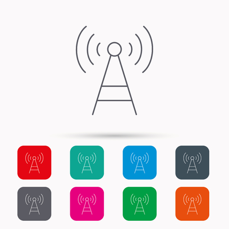 wireless tower: Telecommunication tower icon. Signal sign. Wireless wifi network symbol. Linear icons in squares on white background. Flat web symbols. Vector