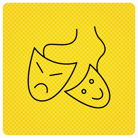 masquerade masks: Theater masks icon. Drama and comedy sign. Masquerade or carnival symbol. Linear icon on orange background. Vector