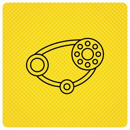 timing belt: Timing belt icon. Generator strap sign. Repair service symbol. Linear icon on orange background. Vector Illustration