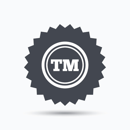 intellectual: Registered TM trademark icon. Intellectual work protection symbol. Gray star button with flat web icon. Vector Illustration